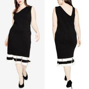 Rachel Roy Knit Dress Asymmetrical Strap Stripe 3X